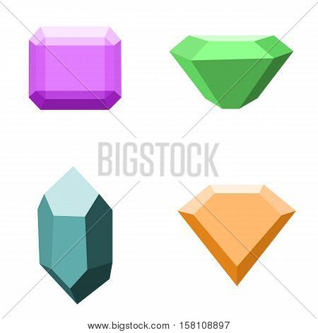 set of gemstones, colorful stones isolated on white