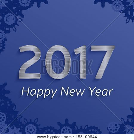 digital happy new year 2017 text design. vector greeting illustration with silver numbers and snowflakes. happy new year 2017 vector background