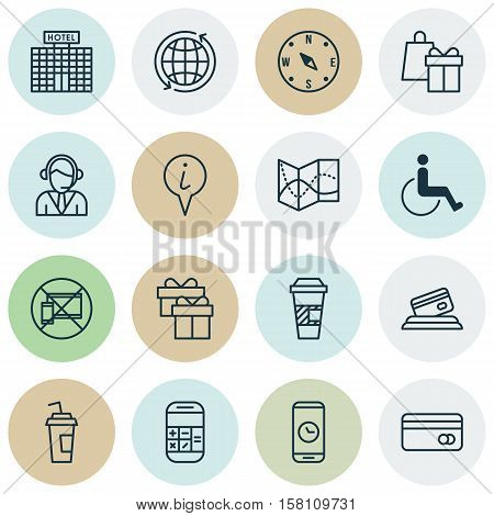 Set Of Transportation Icons On World, Call Duration And Accessibility Topics. Editable Vector Illust