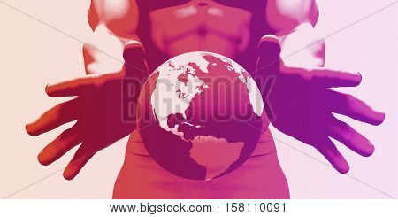 Globalization and a Global Company with Hands Showing World