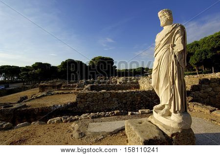 Sculpture of Asclepius in Empúries ruins Girona province CataloniaSpain