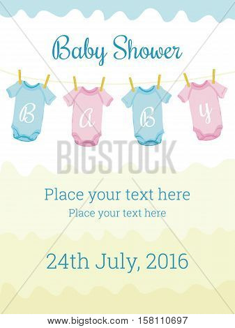 Baby Shower celebration template with baby clothes. Cute design elements for invitation card, banner, flyer, collage, decoration. Editable vector illustration. Pastel colors, pink, blue and yellow