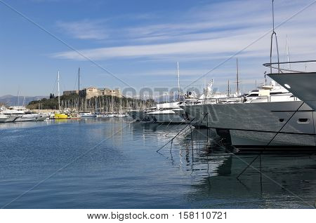 yachts in the port of Antibes French Riviera