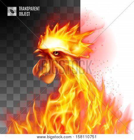 Rooster Head Fiery On Transparent Background Symbol twenty-seventeen