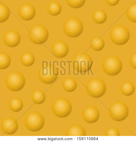 Yellow balls, bubbles and spheres vector illustration. Abstract background seamless pattern with 3D effect. Raster version. Design element  for website, banner, prints, wrapping, decoration, digital