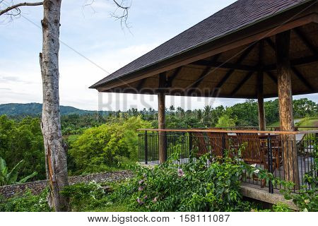 gazebo or a waiting shed that overlooked nature scene in Angelfields Tagaytay, Philippines