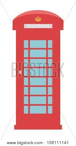 United Kingdom Telephone Box London public call vector red box isolated on white