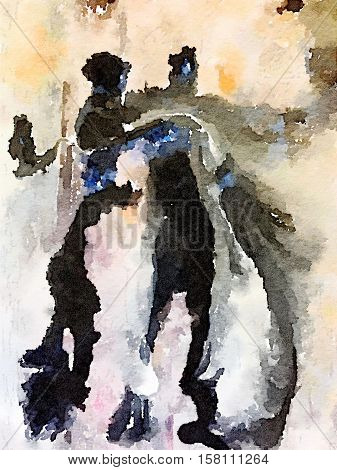 Digital watercolor painting of a black brown blue orange and white painted abstract background with space for text. People dancing.