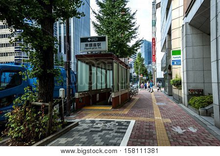 Tokyo, Japan - August 22, 2016: a street scene in the Tokyo's Ginza district during early morning hours