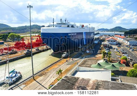 Panama City, Panama - March 3, 2014: Cruise Ship goes thru Miraflores locks of the Panama Canal