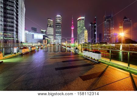 Night View Of Skyscrapers And Century Avenue, Shanghai, China