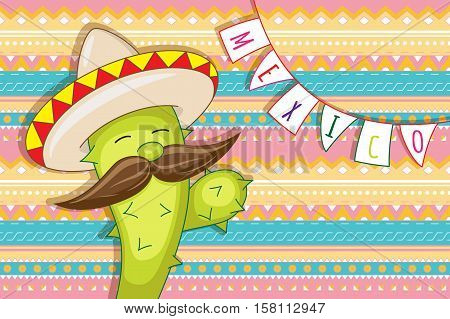 Funny animated cactus in bright sombrero. Geometric ethnic background. Mexico. Vector illustration.