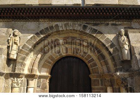 Santiago Peregrino door Romanesque Church of Santa Marta de Tera Via de la Plata Zamora Spain