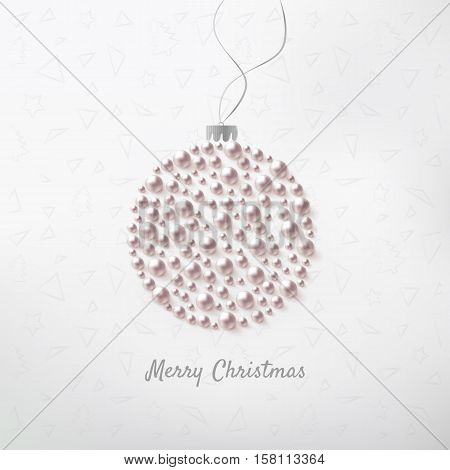 Christmas ball made of pearls. Decorative Christmas card. Vector illustration