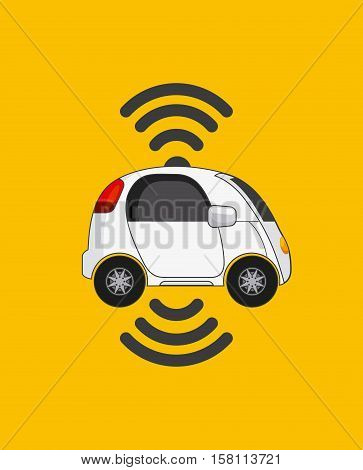 autonomous car vehicle with wireless waves over yellow background. ecology,  smart and techonology concept. vector illustration
