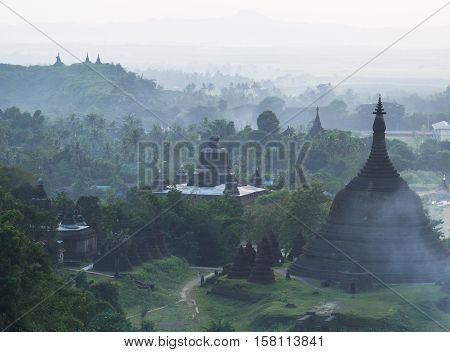 Evening view of Mrauk U the ancient temple city in the Rakhine State of Myanmar.