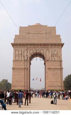 DELHI, INDIA - FEBRUARY 13 : The Indian gate on February 13, 2016, Delhi, India. The Indian gate is the national monument of India.