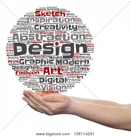 Creativity art graphic design visual word cloud in hand  isolated on background