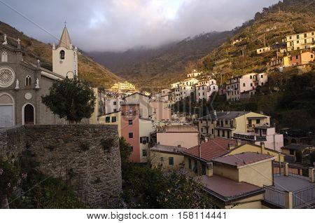 village and church of Riomaggiore Cinque Terre Italy