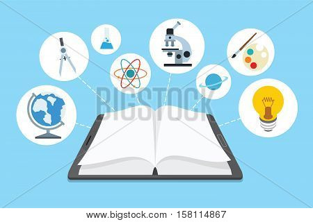 ebook and icons with blue background vector illustration design