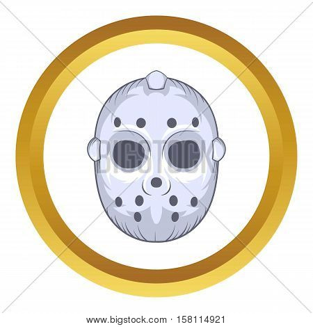 Hockey goalie mask vector icon in golden circle, cartoon style isolated on white background