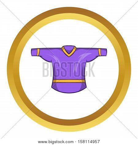Ice hockey sweater vector icon in golden circle, cartoon style isolated on white background