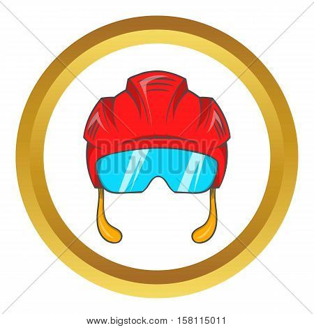Red hockey helmet with glass visor vector icon in golden circle, cartoon style isolated on white background