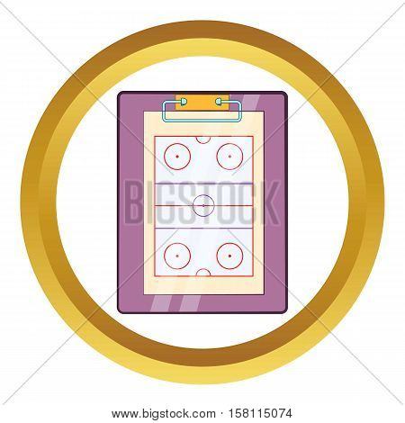 Tablet coach with tactical placement of teams vector icon in golden circle, cartoon style isolated on white background