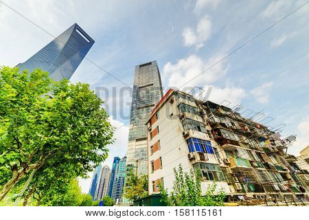 Old Buildings Coexist With Modern Skyscrapers In Shanghai, China
