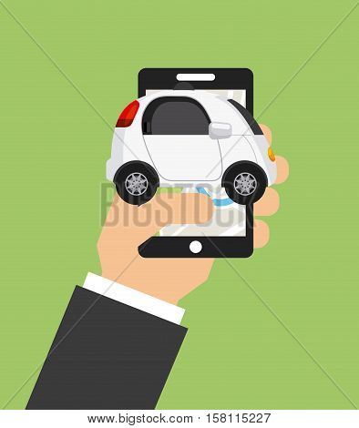 hand holding a smartphone with autonomous car vehicle  over green background. ecology,  smart and techonology concept. vector illustration
