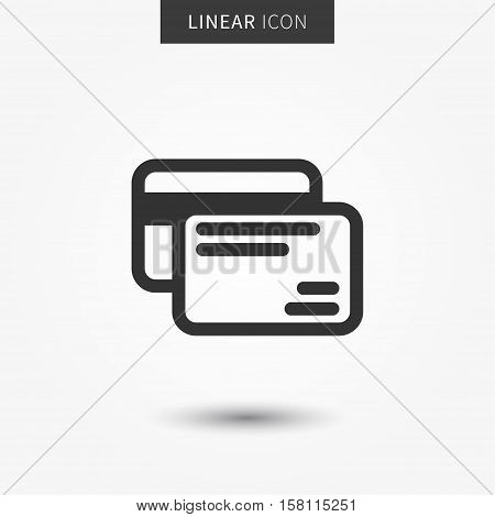 Credit cards icon vector illustration. Isolated bank cards symbol. Banking payment line concept. Plastic money graphic design. Debit cards outline symbol for app.
