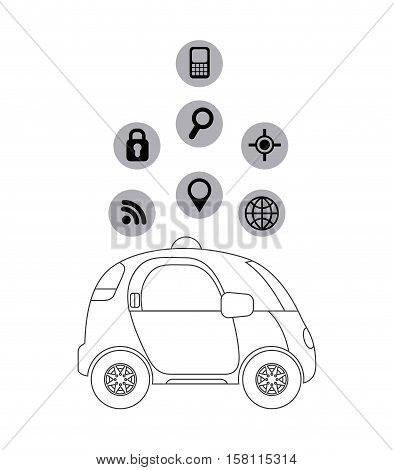 silhouette of autonomous car vehicle with navigation icons around over white  background. ecology,  smart and techonology concept. vector illustration