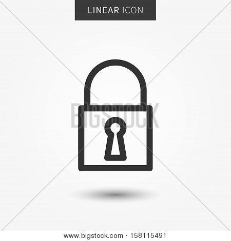Lock icon vector illustration. Isolated padlock symbol. Security line concept. Protection graphic design. Padlock outline symbol for app. Privacy pictogram on grey background.