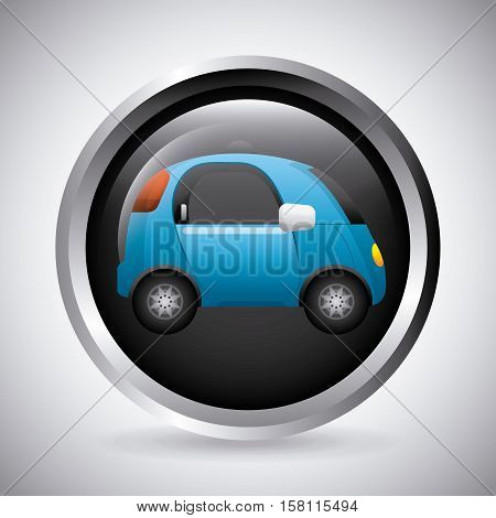 button with autonomous car icon inside over white background. smart and techonology concept. vector illustration