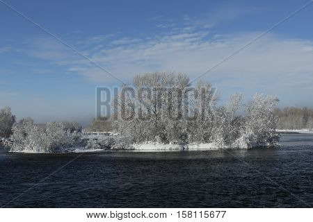 nature, landscape, scenery, winter landscape, winter, snow, Park, winter, Park, trees, flora, plants, seasons, river, island, island, water