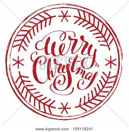 Impress printing stamp Merry Christmas. Isolated on white vector illustration
