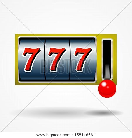 Slot machine with lucky seven on a white background.