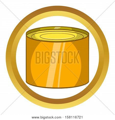 Tin packaging vector icon in golden circle, cartoon style isolated on white background