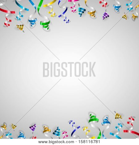 Colorful ribbons and confetti falls isolated on white background. Vector illustration.