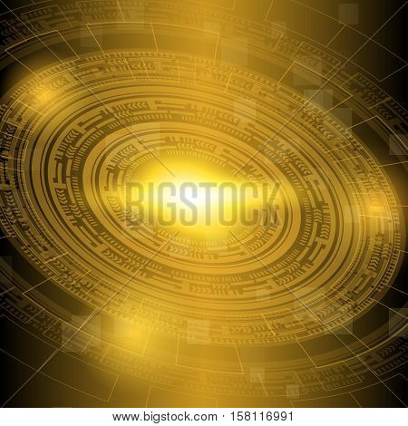 Abstract dark yellow technology background, stock vector
