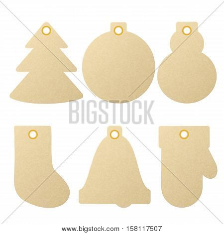 Collection of textured kraft paper Christmas and New Year gift tags designed as different holiday symbols, eps10 vector illustration