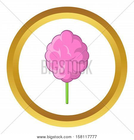 Pink cotton candy vector icon in golden circle, cartoon style isolated on white background