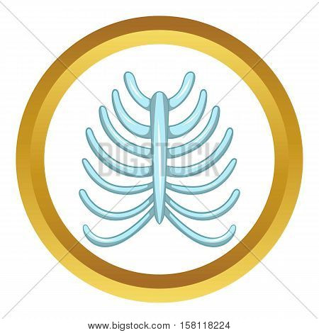 Ribs vector icon in golden circle, cartoon style isolated on white background