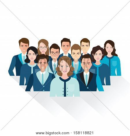 Business people isolated on white background Business team in Different male and female faces teamwork Diverse people character flat design vector illustration.
