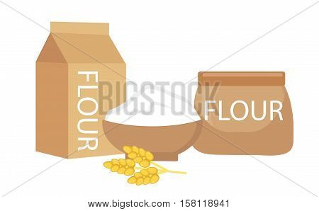 Flour set, flat style. Flour is isolated on a white background. Flour still life. Vector illustration