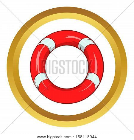 Lifeline vector icon in golden circle, cartoon style isolated on white background