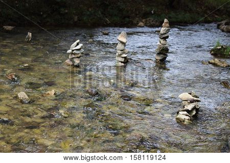 A group of rocks stacked in the river of san cristobal de las casas, Chiapas. Mexico