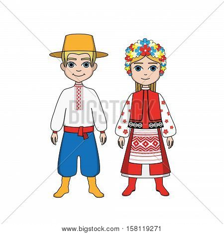 The man and woman in Russian national clothes
