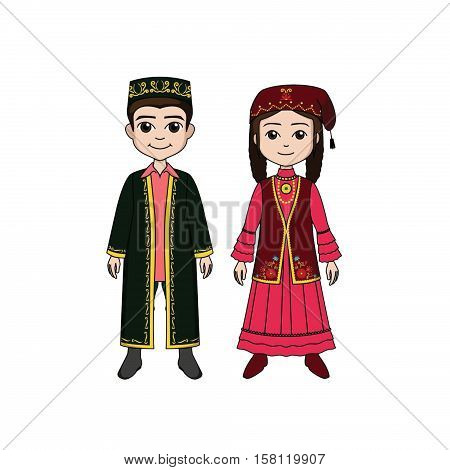 The man and woman in uzbek national clothes
