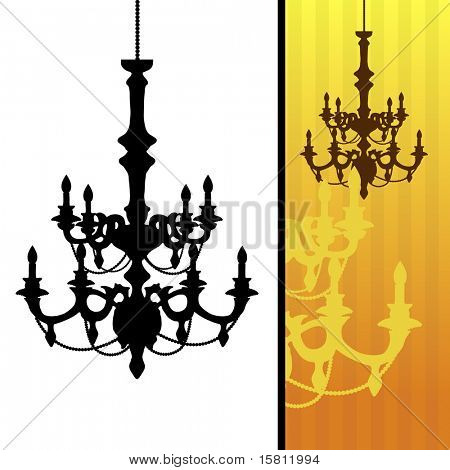 Chandelier on yellow striped background.